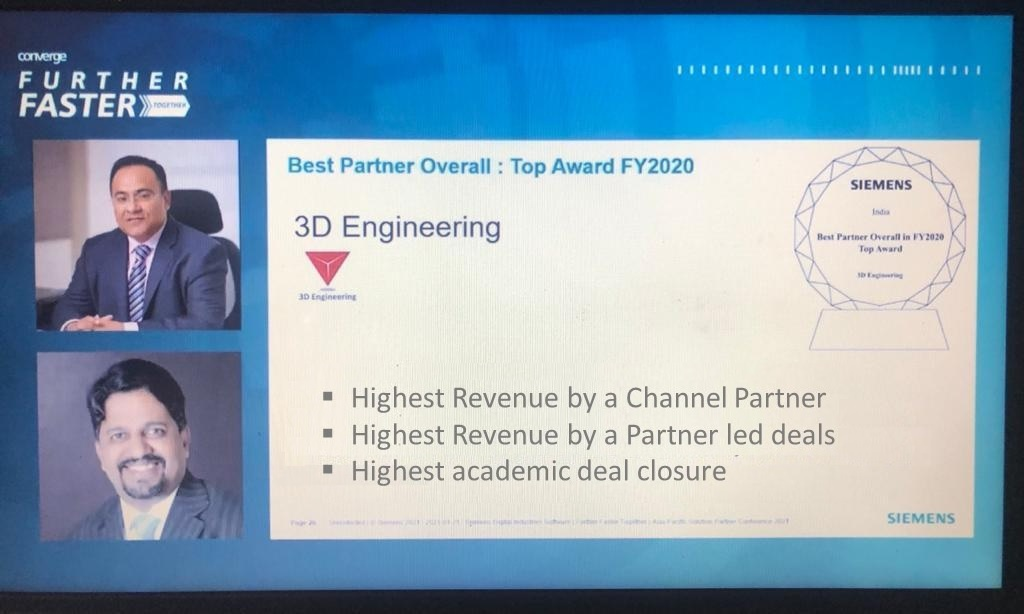 3D Engineering has been awarded the Best Partner Award FY 2020 by Siemens Digital Industries Software India Pvt Ltd